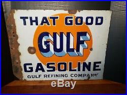 Original That Good GULF Gasoline double sided porcelain flange sign 18x22