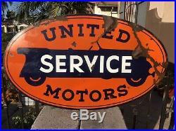 Original United Motor Service Porcelain Double Sided 48 Sign