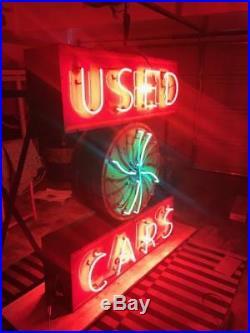 Original Used Cars Mopar Desoto Plymouth Dealership Porcelain Neon Animated Sign