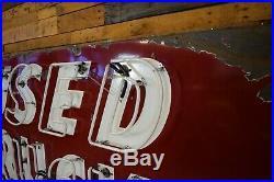 Original Used TRUCKS Porcelain Neon Dealership Sign 1940's Gas Station Garage