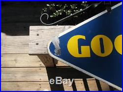 Original Vintage 1940 Goodyear Tires Porcelain on Steel Double Sided Sign