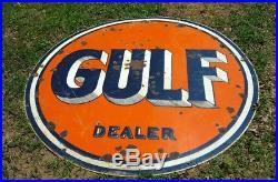 Original Vintage Double Sided Porcelain Gulf Pinstripe Dealer Advertising Sign