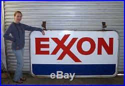 Original Vintage Exxon Gas Porcelain Sign