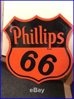 Original Vintage PHILLIPS 66 Porcelain Gas Oil Service Station Sign 1940s