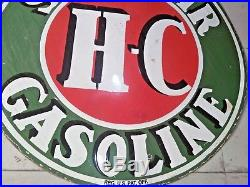 Original Vintage Porcelain Hc Sinclair Gas Sign 48 Inches Double Sided Heavy
