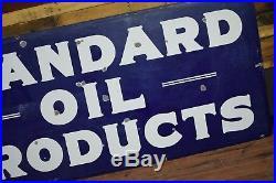Original Vintage Porcelain Standard Oil Company Sign 8ft 1930's Gas Station NICE