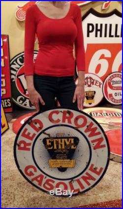 Original Vintage Sign Red Crown Ethyl Oil Gas Double Sided Porcelain 30 girl