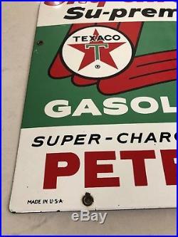 Original Vintage Texaco Porcelain Gas Pump Sign Sky Chief Su-preme Petrox 1961