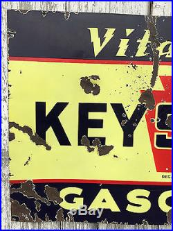 Original Vitalized Keystone Gasoline Double-sided Porcelain Sign