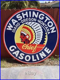 Original Washington Chief Gasoline 6 Double Sided Porcelain Sign