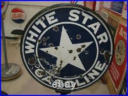 Original White Star Curb Sign. Porcelain Sign 30