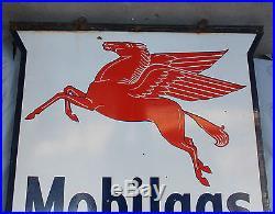 Original double sided Large Porcelain enameled Mobilgas Advertising Pegasus Sign