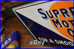 Original gulf supreme motor oil gas and oil porcelain sign Service Station Clean