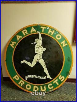 Original marathon products porcelain sign