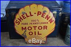 Original porcelain SHELL PENN gasoline sign gas station single sided