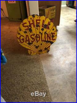 Original porcelain Shell sign gasoline gas pump oil