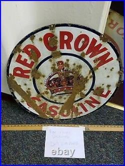 Original porcelain red crown oil and gasoline sign