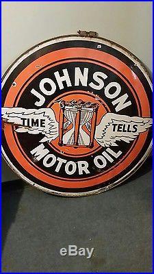 Original porcelain sign johnson oil gas