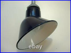 PAIR-40's Cobalt Blue 8 Gooseneck Porcelain Sign Light Gas Station Abolite VTG