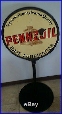 PENNZOIL DOUBLE SIDED PORCELAIN CURB SIGN 1930s