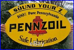 PENNZOIL LARGE, HEAVY, DOUBLE SIDED PORCELAIN SIGN, (DATED 1947) 31x 21