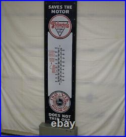 POLARINE MOTOR OIL SERVICE STATION PORCELAIN SIGN & THERMOMETER withNEW WOOD FRAME
