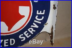 Pontiac Authorized Service Dealership Porcelain Flange Sign Gas Service 2-sided