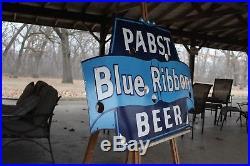 Pabst Blue Ribbon Beer Porcelain Neon Sign Skin Gas Oil Car Farm Man Cave