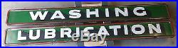 Pair 1930's Sinclair Gas Station WASHING & LUBRICATION Porcelain Signs 8