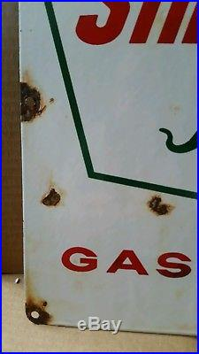 Pair Of Sinclair Dino Gasoline Porcelain Pump Plate Signs