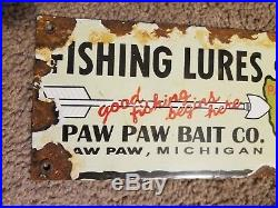 Paw Paw Fishing Lures Porcelain Sign Water Recreation Sport Garage Art Indian