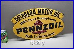 Pennzoil Outboard Motor 2-sided Porcelain Sign Gas Oil Car Farm Boat Marine