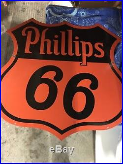 Phillips 66 1940s Double Sided Porcelain Sign Hanging Sign