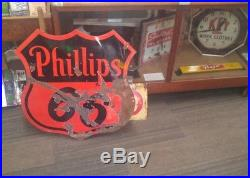 Phillips 66 30 Double Sided Porcelain Sign Original