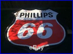 Phillips 66 Porcelain Pole Sign. Gas Oil Texaco Gulf Sinclair Standard
