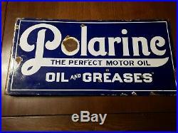 Polarine motor Oil Porcelain Flange Sign double sided