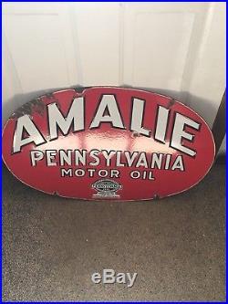 Porcelain Amalie Pennsylvania Oil Sign Curb Sign Rare