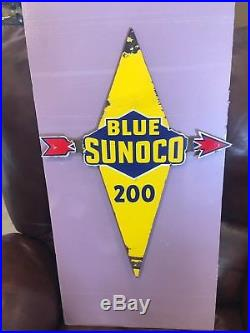 Porcelain Blue Sunoco Pump Plate