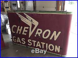 Porcelain Chevron Neon Sign, Chevrolet Gas And Oil