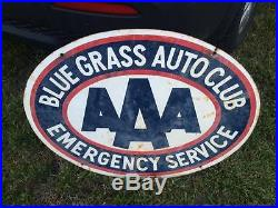 Porcelain Double Sided Kentucky Blue Grass Auto Club AAA Sign