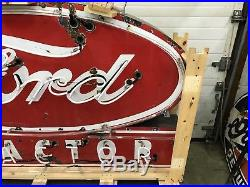 Porcelain Ford Tractor Neon, Gas And Oil, Chevrolet And Ford