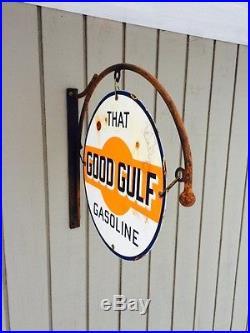 Porcelain Good Gulf Sign And Hanger