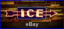 Porcelain ICE Neon Flashing Sign Gas Oil Service Station 8ft 1930's Chicago