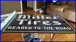 Porcelain Miller Tires Flange Sign Guaranteed Original