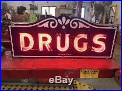 Porcelain Neon Drugs Sign, Gas and oil, Chevrolet and Ford