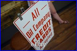 Porcelain Oil Co Credit Cards Accepted 2 sided Gas Station advertising Sign NICE
