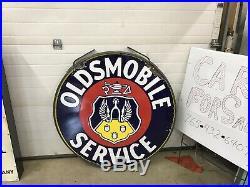 Porcelain Oldsmobile Dealership Sign, Gas And Oil Chevrolet And Ford
