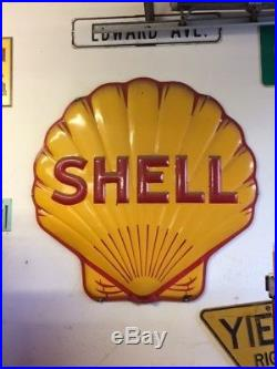 Porcelain Shell gasoline sign circa 1920's 48 x 48