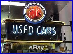Porcelain Sign Ok Used Car Authorized Dealer Neon Sign, Gas And Oil