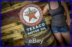 Porcelain Texaco Motor Oil Flange Sign Original 1920's Gas Station AUTHENTIC